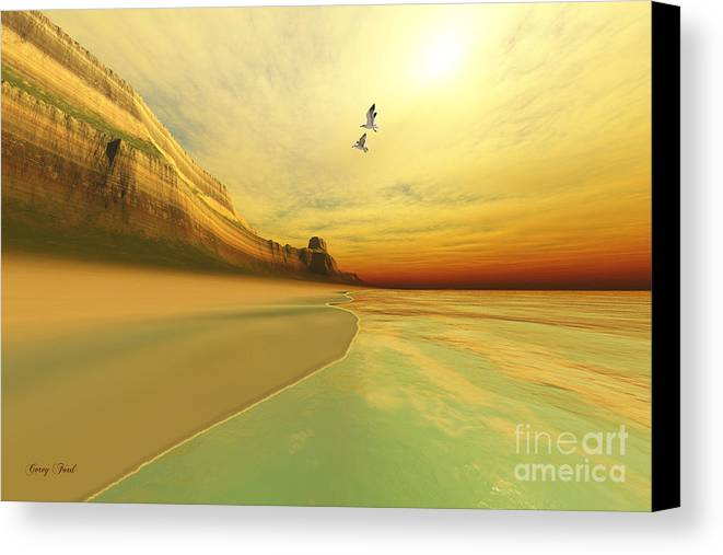 Seagull Canvas Print featuring the painting Gold Coast by Corey Ford