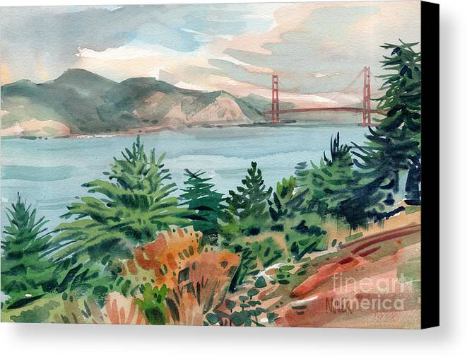 Golden Gate Bridge Canvas Print featuring the painting Golden Gate by Donald Maier