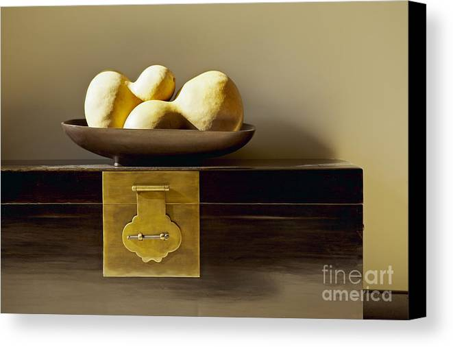 Beige Canvas Print featuring the photograph Gourds Still Life I by Kyle Rothenborg - Printscapes