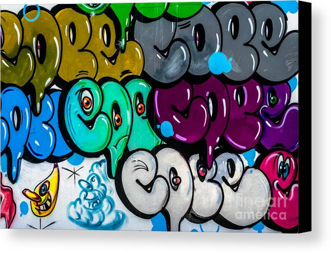 Artistic Canvas Print featuring the photograph Graffiti Art Nyc 9 by Anakin13