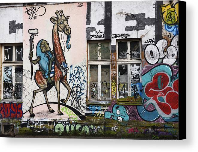 Graffiti Canvas Print featuring the photograph Graffiti On Wall At Metelkova City Autonomous Cultural Center Sq by Reimar Gaertner