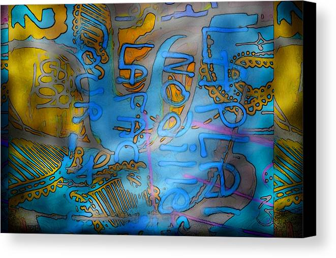 Graffiti Canvas Print featuring the mixed media Graffitis Time by Martine Affre Eisenlohr