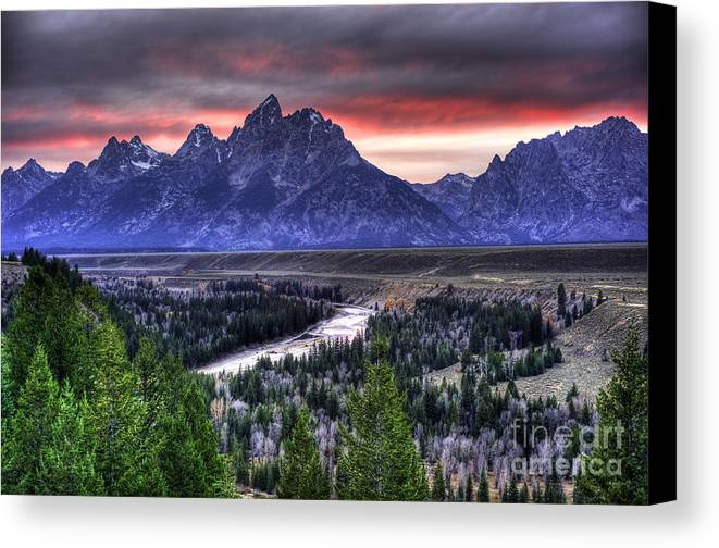 Places Canvas Print featuring the photograph Grand Teton Sunset by Dennis Hammer