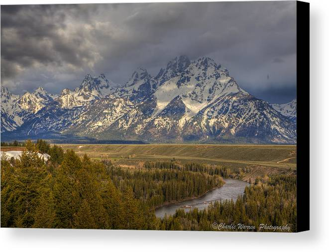 Grand Tetons Canvas Print featuring the photograph Grand Tetons Snake River by Charles Warren