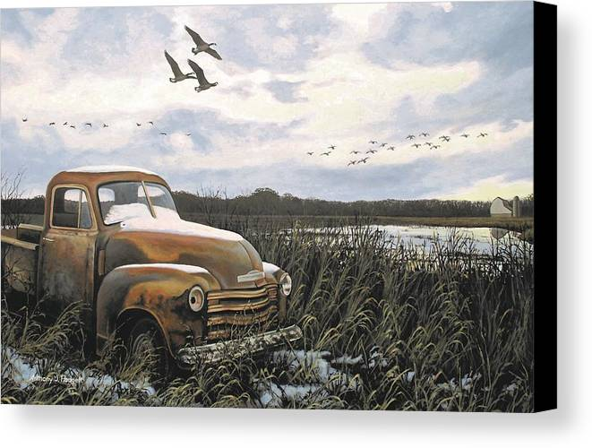 Truck Canvas Print featuring the painting Grandpa's Old Truck by Anthony J Padgett