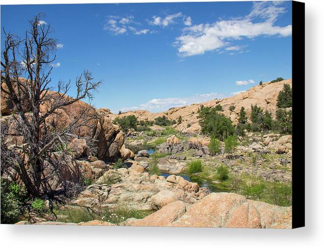Landscape Canvas Print featuring the photograph Granite Dells Rocky Terrain by Amy Sorvillo