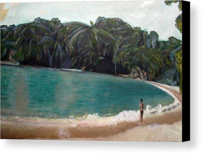 Beach Canvas Print featuring the painting Green Lagoon by Keith Bagg
