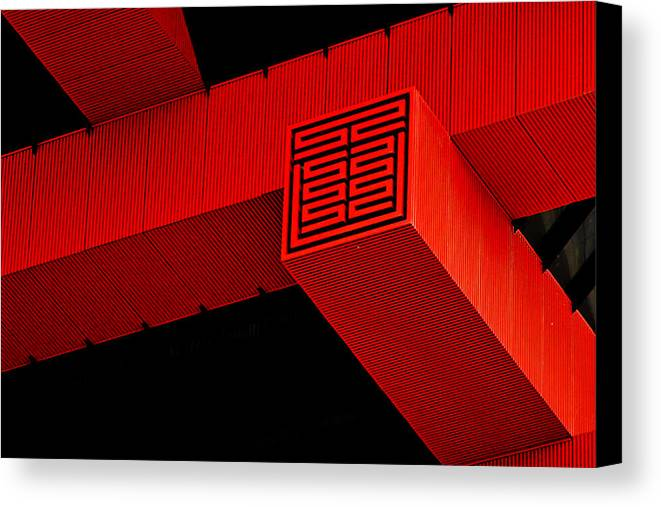 China Pavilion Canvas Print featuring the photograph Gugong - Forbidden City Red - Chinese Pavilion Shanghai by Christine Till
