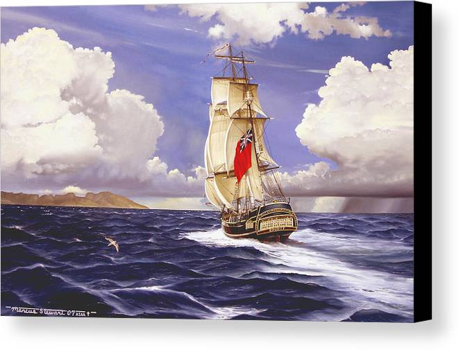 Marine Canvas Print featuring the painting H. M. S. Bounty At Tahiti by Marc Stewart