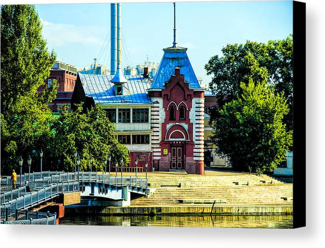Architecture Moscow Gorky Park Russia Canvas Print featuring the photograph Happly House by Rick Bragan