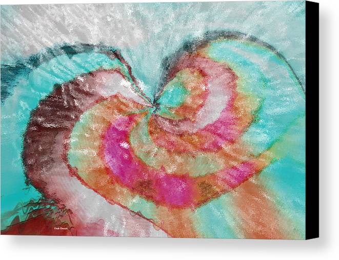 Abstract Art Canvas Print featuring the digital art Happy Valentine's Day by Linda Sannuti