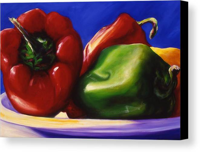 Still Life Canvas Print featuring the painting Harvest Festival Peppers by Shannon Grissom