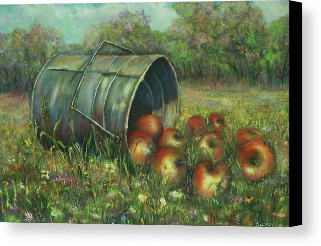 Luczay Canvas Print featuring the painting Harvest With Red Apples by Luczay