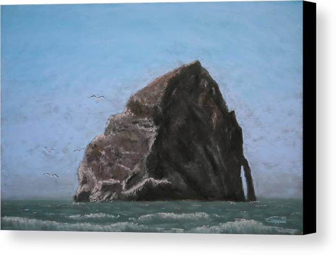Seascape Canvas Print featuring the painting Haystack Rock by Carl Capps