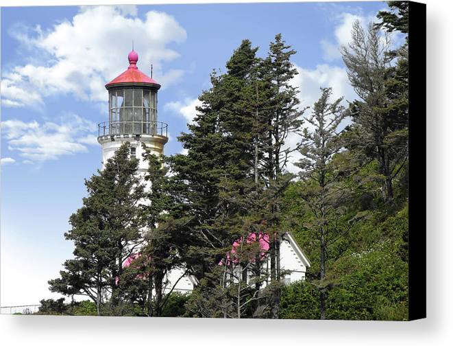 Hecata Head Lighthouse Canvas Print featuring the photograph Heceta Head Lighthouse - Oregon's Iconic Pacific Coast Light by Christine Till