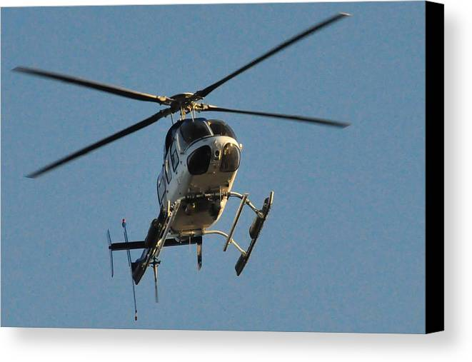 Waterfowl Canvas Print featuring the photograph Helicopter On Final Approach by Bill Perry