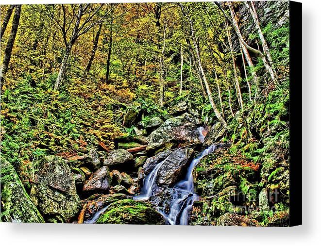 Hellbrook Cascades Canvas Print featuring the photograph Hellbrook Cascades In Autumn by Matthew Winn