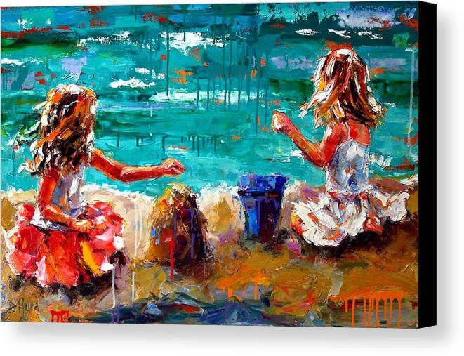 Seascape Canvas Print featuring the painting Her Blue Bucket by Debra Hurd