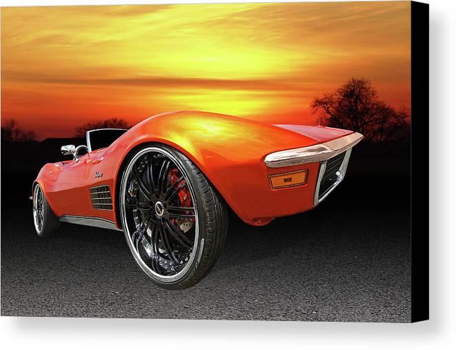 Corvette Stingray Canvas Print featuring the photograph Here Comes The Sun - '72 Stingray by Gill Billington