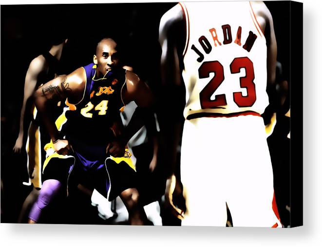 Michael Jordan Canvas Print featuring the digital art Heroes Come And Go But Legends Are Forever by Brian Reaves