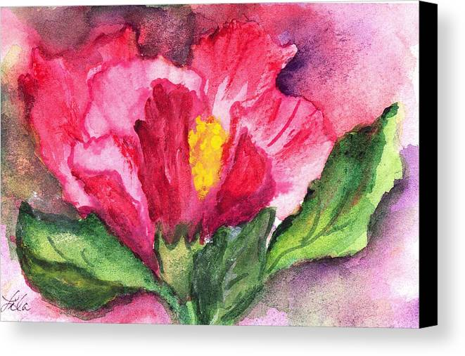 Watercolor Canvas Print featuring the painting Hibiscus Unfolding by Lila Van Pelt