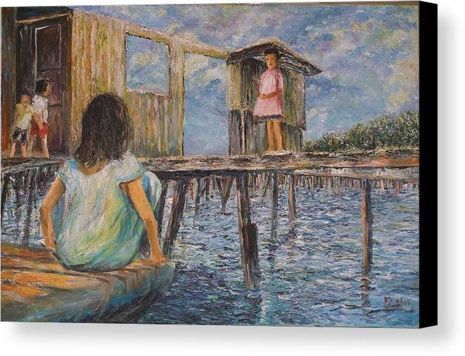 Children Canvas Print featuring the painting Hide And Seek - Pangkor Island by Wendy Chua