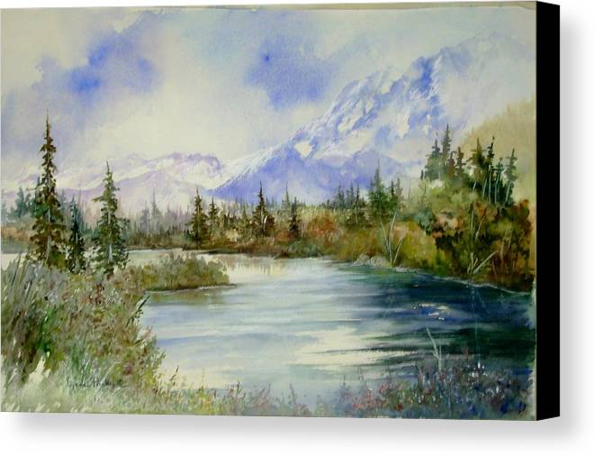 River Scene With Mountains Canvas Print featuring the painting High Country by Lynne Parker