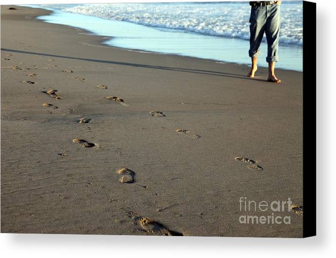 Sand Canvas Print featuring the photograph His Path by Amanda Barcon