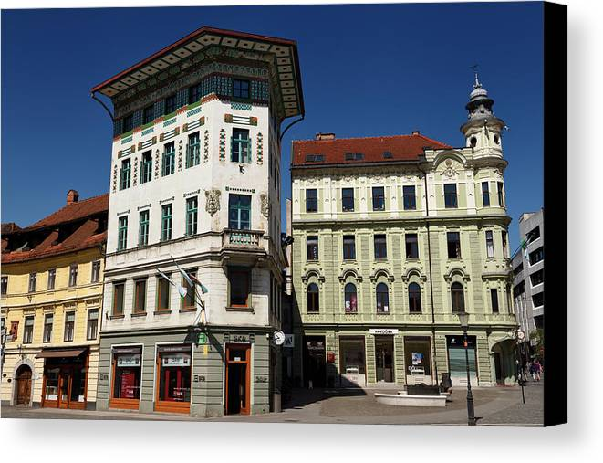 Historic Canvas Print featuring the photograph Historic Art Nouveau Buildings At Preseren Square White Tiled Ha by Reimar Gaertner