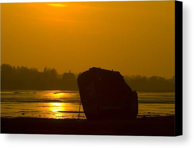 Wreck Canvas Print featuring the photograph Holly Hill Wreck Sunset by Chris Pickett