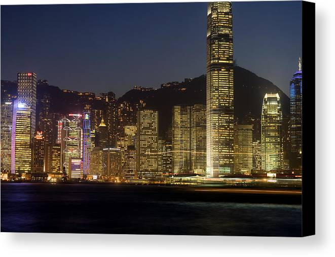 City Canvas Print featuring the photograph Hong Kong Harbor December 1 by Brad Rickerby