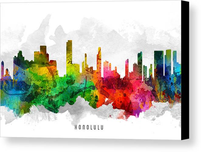 Honolulu Canvas Print featuring the painting Honolulu Hawaii Cityscape 12 by Aged Pixel