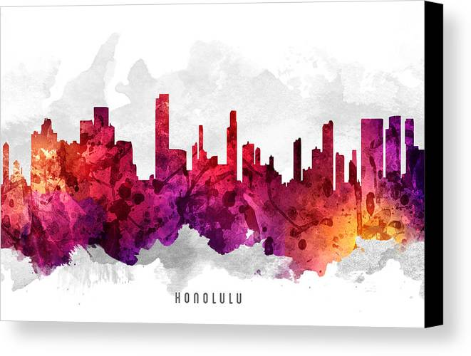 Honolulu Canvas Print featuring the painting Honolulu Hawaii Cityscape 14 by Aged Pixel