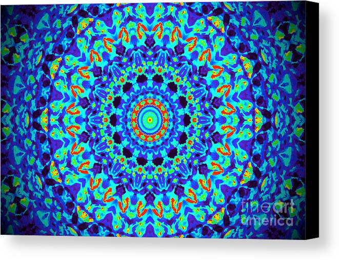 Thermal Canvas Print featuring the photograph Hot Cat Mandala by Chad Kroll