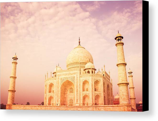 Ancient Canvas Print featuring the photograph Hot Taj Mahal by Nila Newsom