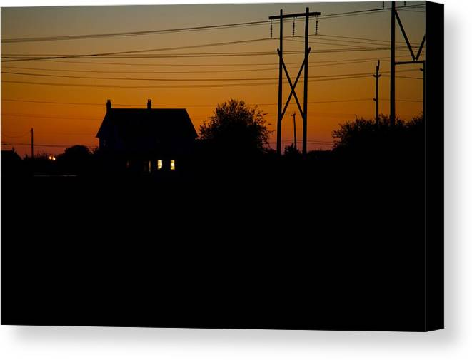 Sunset Canvas Print featuring the photograph House At Sunset by Paul Kloschinsky