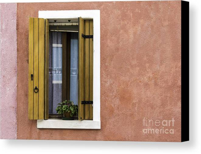 Pink Canvas Print featuring the photograph House Of Venice - Salmon by Sophia Pagan