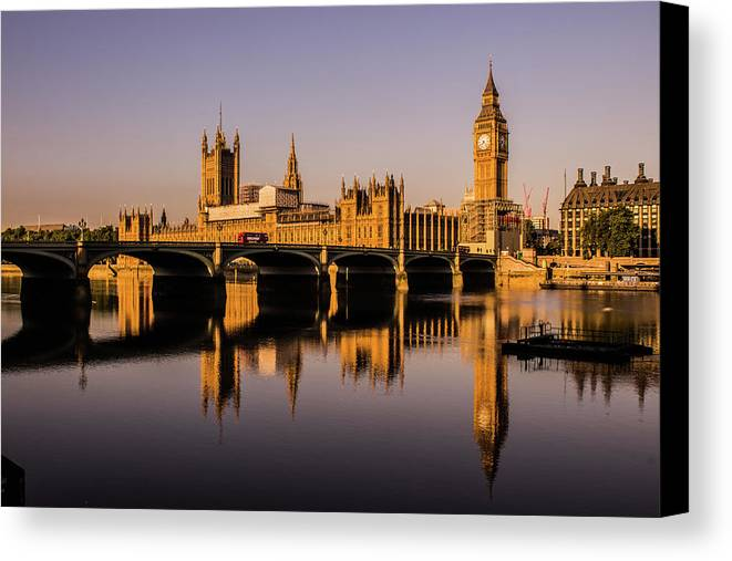 Houses Of Parliament Canvas Print featuring the photograph Houses Of Parliament With Westminster Bridge. by Nigel Dudson