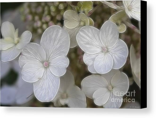 Flowers Canvas Print featuring the mixed media Hydrangea Fractalius by Deborah Benoit