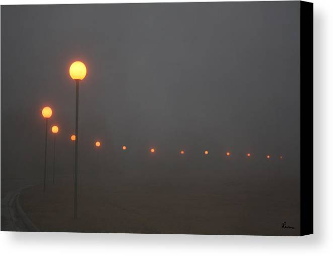 Ice Fog Park Lamps Misty Cold Weather Eerie Canvas Print featuring the photograph Ice Fog And Park Lamps by Andrea Lawrence