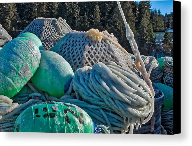 Icy Pots Canvas Print featuring the photograph Icy Gear by Cathy Mahnke