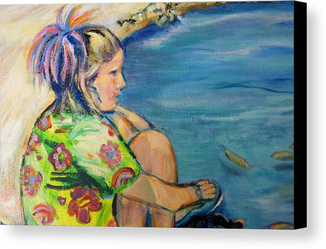 Portrait Canvas Print featuring the painting If Fishes Were Wishes by Susan Brown  Slizys art signature name