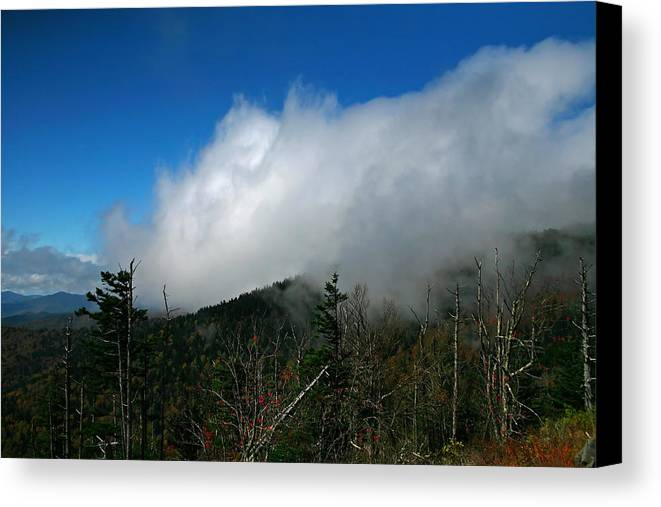 Smokey Mountains Canvas Print featuring the photograph In The Clouds by James Jones