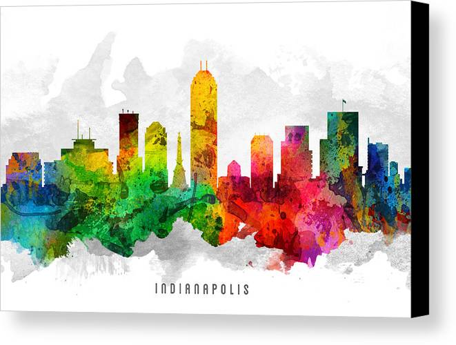 Indianapolis Canvas Print featuring the painting Indianapolis Indiana Cityscape 12 by Aged Pixel