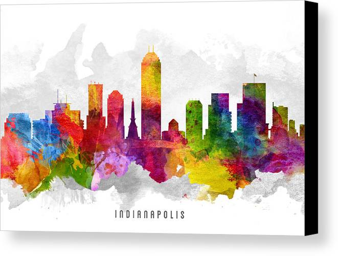 Indianapolis Canvas Print featuring the painting Indianapolis Indiana Cityscape 13 by Aged Pixel