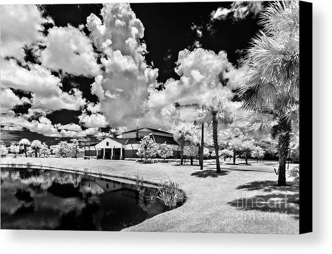 Infrared Canvas Print featuring the photograph Infrared Indian River State College Hendry Campus #11 by Bill Piacesi