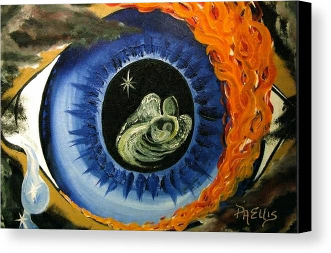 Large Blue Eye Surrounded By Black Canvas Print featuring the painting Inner Sight by Pam Ellis