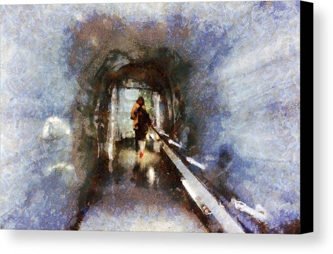 Switzerland Canvas Print featuring the photograph Inside An Ice Tunnel In Switzerland by Ashish Agarwal