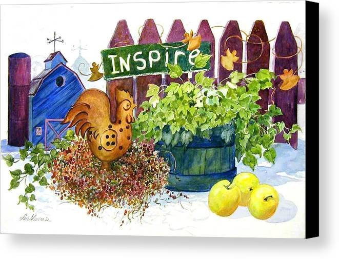 Rooster;barn;apples;ivy;fence;inspiration;country;still Life; Canvas Print featuring the painting Inspire by Lois Mountz