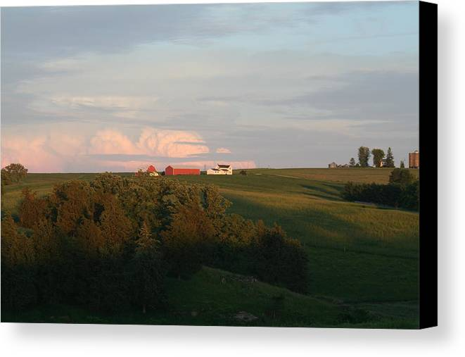 Farms Canvas Print featuring the photograph Iowa Farms by Linda Ostby